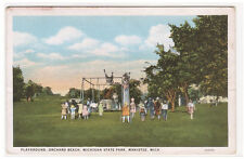 Children's Playground Orchard Beach Manistee Michigan 1920c postcard