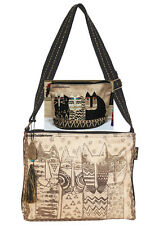 Laurel Burch Wild Cat Family Metallic Gold Sparkle CrossBody RETIRED +Makeup Bag