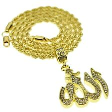 """Men's Allah 24"""" In Rope Chain Islamic Bling Pendant Gold Finish Hip Hop Necklace"""