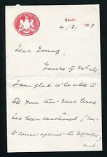 FINE SIGNED LETTERHEAD FROM THE COMMANDER IN CHIEF IN INDIA BRITISH RAJ