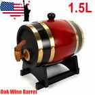1.5L Pine Wine Barrel Wood Keg Storage Whiskey Spirits Rum Port Barrel US