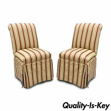 Pair of Red & Gold Upholstered Accent Side Chairs Skirted Parsons Rolled Back