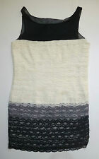 EUC White, Gray & Black Tiered Lace Shift Dress by See by Chloe - SZ 8