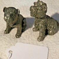 2 Real Cute Miniature Solid Pewter Bull Dog & A Schnauzer or Scottish