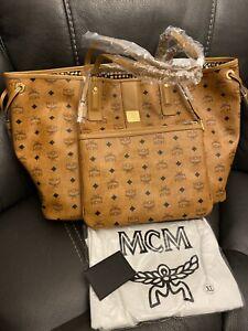 NEW Authentic MCM Large Cognac Reversible Liz Shopper with pouch / tote bag