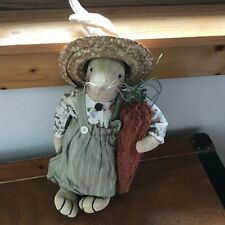 Primitive Country Honey & Me Flour Sack Bunny Rabbit w Sage Green Bib Overalls &