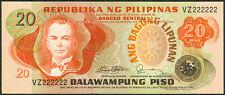 20 Pesos ABL Marcos - Fernandez SOLID NO. VZ222222 Philippine Banknote