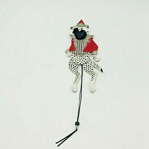 Dee Segula '98 Pull String Puppet Clown Dalmatian Dog Checkers Diamonds Red