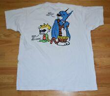 Rare Vtg 1990s Calvin and Hobbes Batman Robin 2 Sided White T Shirt Made Usa Xl