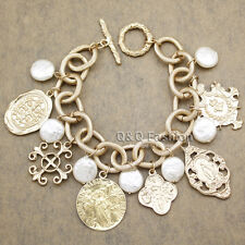 Catholic Religious Christ Virgin St. Benedict Medal Cross Toggle Bracelet Bangle