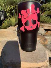 Custom Powder Coated Yeti 30 oz Rambler with Hot Pink Baby Girl Skull Matte Blk
