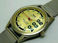 genuine hmt pilot hand winding men steel golden dial 17j vintage india watch run