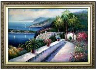 Framed, Quality Hand Painted Oil Painting Mediterranean Seascape View 24x36in