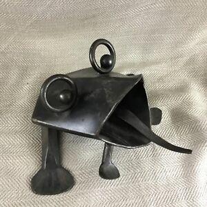 Garden Frog Sculpture Handmade Rustic Cast Iron Figure Contemporary Modern Art