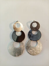 Surgical Stainless Steel Black And Silver Round Disc  Earrings