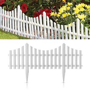 Plastic Wooden Effect Lawn Border White Fence Panel Outdoor Garden Edging Picket
