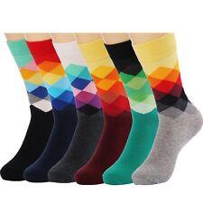 HSELL 6 Packs Men Color Dress Socks Funny Colorful Rainbow Argyle High Fun Sock,