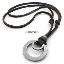 Fashion Men Retro Leather LUS Cord Necklace Double Circle Ring Pendant Jewelry