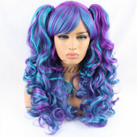 Women's Lolita Cosplay Wigs Long Wavy Curly 2 Hair Ponytails Hairpiece Synthetic