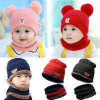 Baby Boy Girl Warm Knit Beanie Hat Toddler Kids Winter Ski Snow Cap Scarf Set