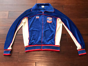 Vintage Levi's Adult Blue White Red Velour 1984 Olympics Zip Up Track Jacket L