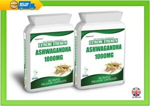 180 ASHWAGANDHA CAPSULES DAILY DOSE 2000mg STRESS FATIGUE ANXIETY RELIEF