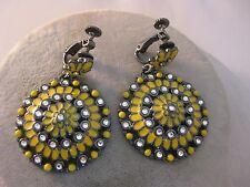 Estate Costume Joan Rivers Yellow Flower Rhinestone Mod Enamel Clip Earrings