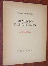 Pierre Emmanuel MEMENTO DES VIVANTS eau-forte Gromaire 1944 EO n° 25/218 poésie