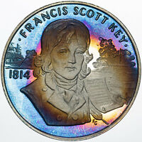 1986 STATUE OF LIBERTY CENTENNIAL FRANCIS SCOTT KEY MEDAL TONED .999 SILVER