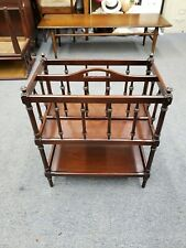 Vintage Wooden Magazine Rack Holder Stand With A Lower Shelf