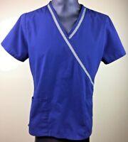 SB Scrub Women's Navy Blue Medical Scrub Top Solid Uniform Work Size Medium