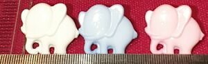 Elephant Buttons, 10 In A Pack  Various Colours Baby Buttons