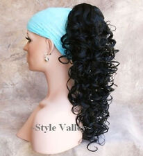 BLACK Ponytail Hairpiece Long Curly Layered Claw Clip on/in Hair Piece Extension