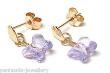 9ct Gold Lilac Swarovski Elements Crystal Drop earrings Made in UK Gift Boxed