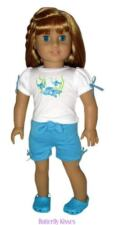 Embroidered Aqua Tropical Fish Short Set 18 in Doll Clothes Fits  American Girl
