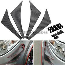 4PCS Carbon Fiber Car Front Bumper Splitte Lip Fins Spoiler Canards Body Refit