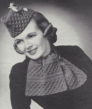 Vintage Crochet PATTERN to make 40s Military Scotch Hat and Scarf Ascot Glengary