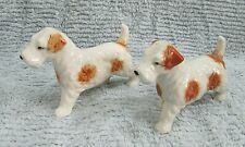 Two 1950's Occupied Japan Porcelain Wire Fox Welsh Terrier Dog Figurines Free Sh