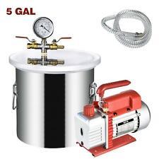 5 Gallon Vacuum Chamber Stainless Steel Degassing Silicone Kit 3cfm Vacuum Pump
