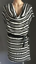 Fab Black/White Stripe CROSSROADS Cowl Neck Stretch Knit Dress Size XXL/20