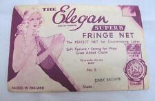 """VINTAGE 1930's """"THE ELEGAN"""" INVISIBLE HAIR FRINGE NET & PACKAGING - DARK BROWN"""