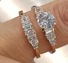 14K Yellow Gold Round cut Engagement Ring & Wedding Band 2 pc Set size 7