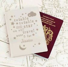 Personalised Child's Twinkle Twinkle Leather Passport Cover Baby 1st Holiday