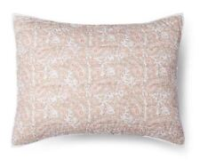 Two Threshold Block Paisley Neutral Quilted Pillow Shams Standard New