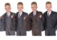 Boys Grey Suits 5 Piece Wedding Suit Page Boy Party Prom Suit 2-15 Years