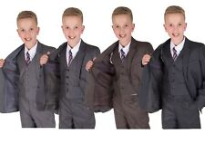 Boys Suits Grey 5 Piece Wedding Suit Page Boy Party Prom Suit 2-12 Years