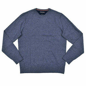 Tommy Hilfiger Mens Sweater Silk Cashmere Pullover Outerwear Flag Logo Blue S