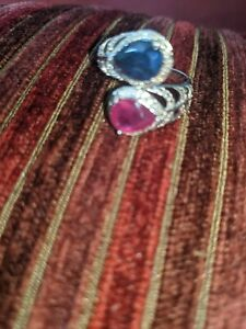 Ruby And Sapphire Silver Ring