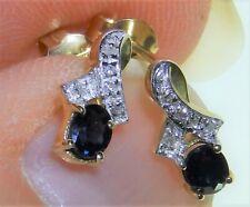 9CT SAPPHIRE DIAMOND STUD EARRINGS BUTTERFLY BACKS 9 CARAT YELLOW GOLD