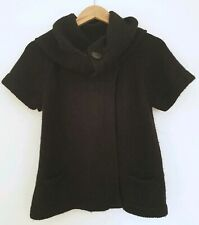Topshop Black Cardigan Funnel Neck Short Sleeve Alpaca Blend UK 10